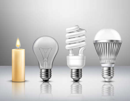 Realistic light evolution concept from candle to modern led bulb on glassy surface isolated vector illustration Ilustração