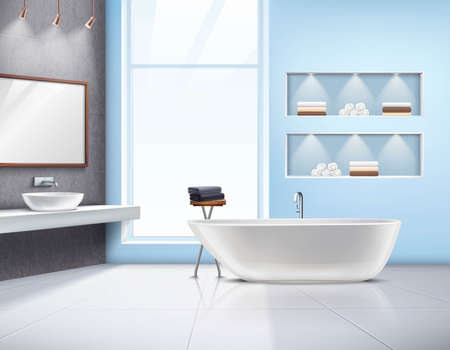 Modern spacious sunlit bathroom interior realistic design with white bath sink accessories and big window vector illustration
