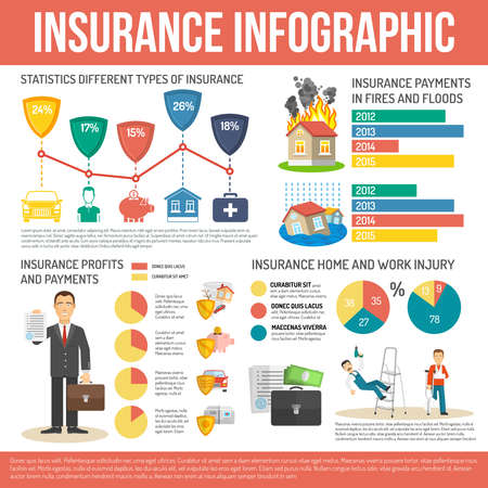 Insurance infographics set with health and finance protection symbols and charts vector illustration  イラスト・ベクター素材