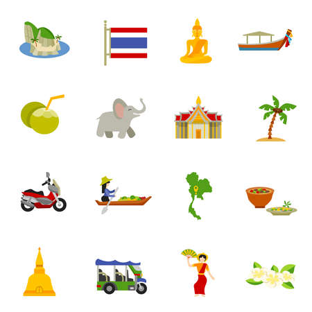 Thailand icons set with elephants coconuts beaches and boats flat isolated vector illustration
