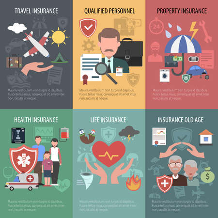 Insurance mini poster set with travel property old people health protection isolated vector illustration  イラスト・ベクター素材
