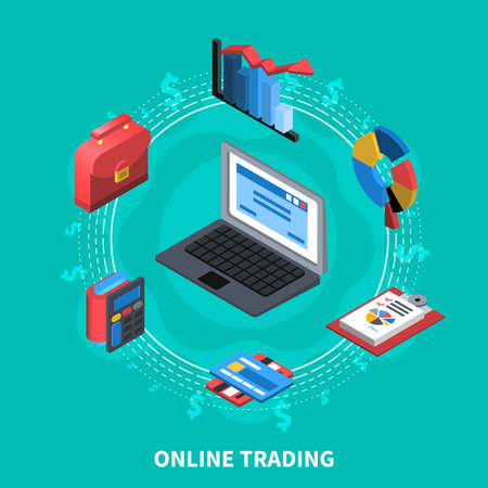 Online trading financial isometric icons round composition with computer wallet credit card diagrams calculator symbols vector illustration Иллюстрация