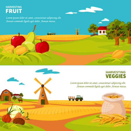 Flat design horizontal banners set with beautiful farm landscapes veggies and fruit harvest isolated vector illustration
