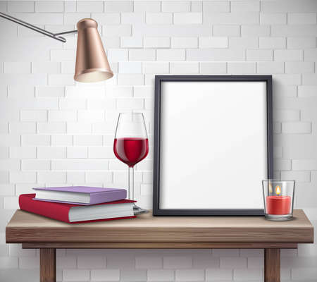 Realistic frame template on the table with glass of wine candle lamp and books vector illustration