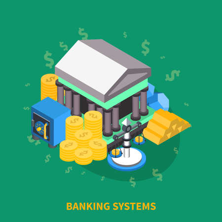 Banking systems financial isometric icons round composition with bank safe box bank scales coins gold vector illustration