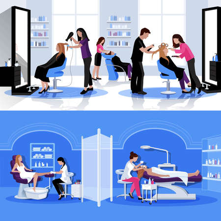 Beauty salon colorful composition with haircut styling pedicure cosmetology in flat style vector illustration Ilustración de vector
