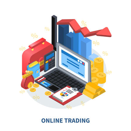 Online trading financial isometric icons composition with diagram arrow columns credit card gold coins money wallet suitcase vector illustration Иллюстрация