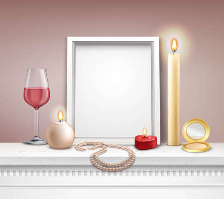 Realistic frame mockup with candles mirror necklace and glass of wine vector illustration
