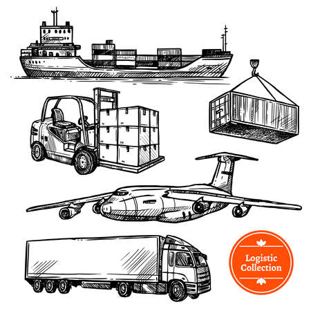 Hand drawn sketch logistics transportation set with cargo ship trailer plane isolated on white background vector illustration