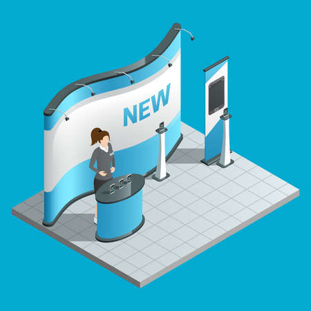 Exhibition isometric stand with female promoter and ad bilboard vector illustration Vektorgrafik