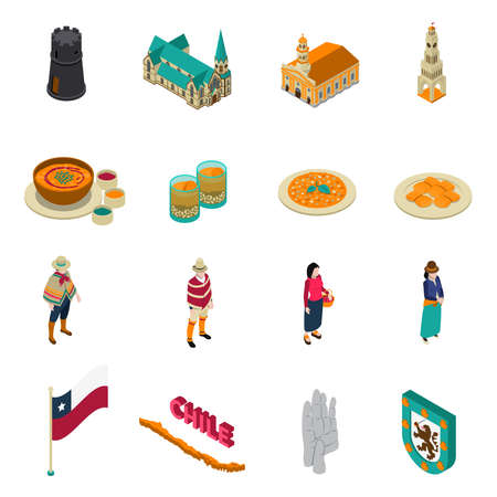 Chile top tourist attractions isometric icons collection with national layered pie dish and churches isolated vector illustration