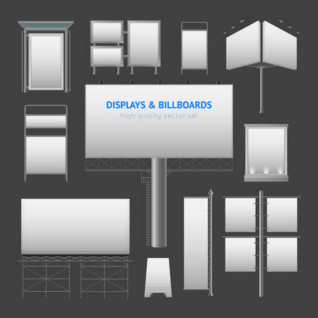 Outdoor advertisement elements with displays boxes and billboards templates in gray colors isolated vector illustration