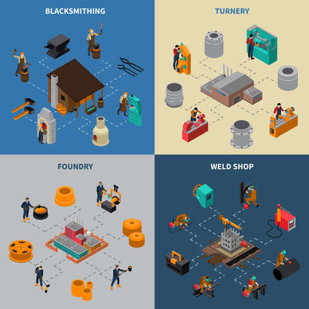 Metalworking 4 isometric icons square composition with blacksmith shop foundry and turner facilities service isolated vector illustration