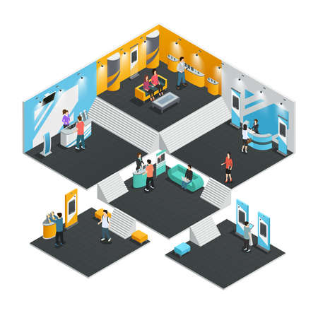 Multistore interior template with exhibition stands isometric composition vector illustration