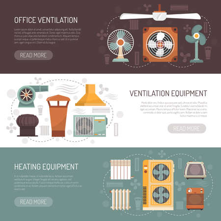 Colorful ventilation conditioning and heating equipment for office and home flat banners isolated vector illustration