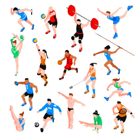 Sport isometric set with sportsmen in various aspects isolated vector illustration