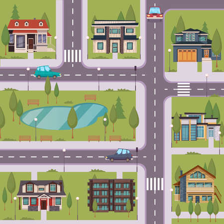 Countryside flat template with suburban residential houses cottages estates trees grass lake road cars vector illustration Vecteurs