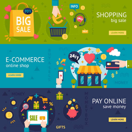 E-commerce shopping horizontal banners with online purchase payment and packing in flat style vector illustration