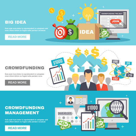 Crowdfunding horizontal banners for funding of projects and big ideas and raising monetary contributions flat vector illustration