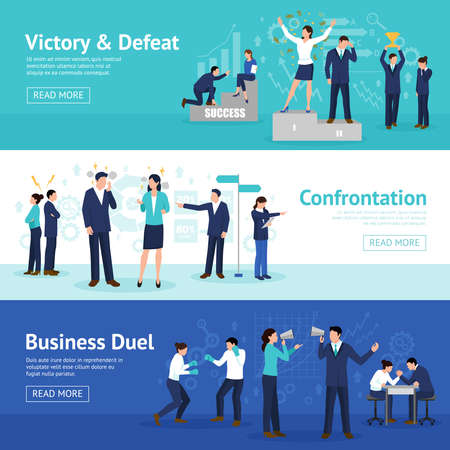 Constructive business confrontation principles for profitable result 3 flat horizontal banners webpage design isolated vector illustration Vettoriali