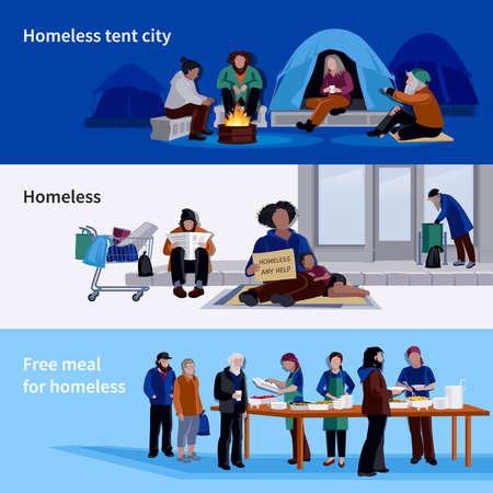 Homeless people horizontal banners asylum for jobless and free meal for hungers flat vector illustration