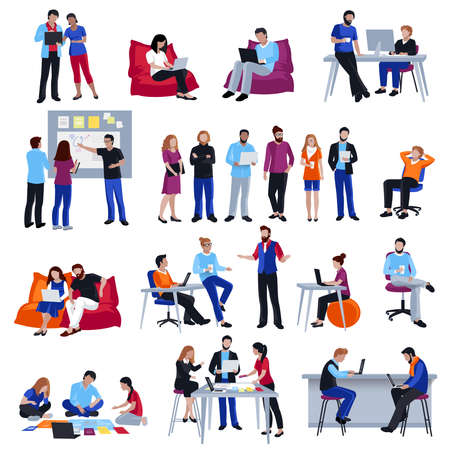 Coworking people colored isolated icons set with creative freelancers meeting together in coworking center sharing ideas and discussing problem flat vector illustration Vecteurs
