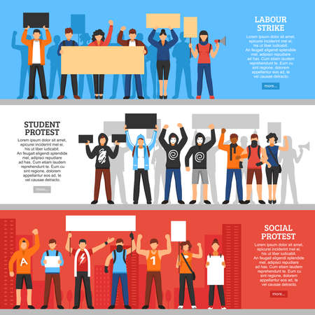 Three horizontal banners with protesting young people faceless characters placards editable text and read more button vector illustration