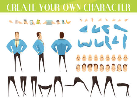 Set for creation of cartoon businessman with various emotions hairstyles gestures and legs positions isolated vector illustration