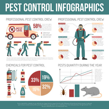 Pest control infographics layout with pests quantity graphs chemicals statistic and information about professional crews flat vector illustration
