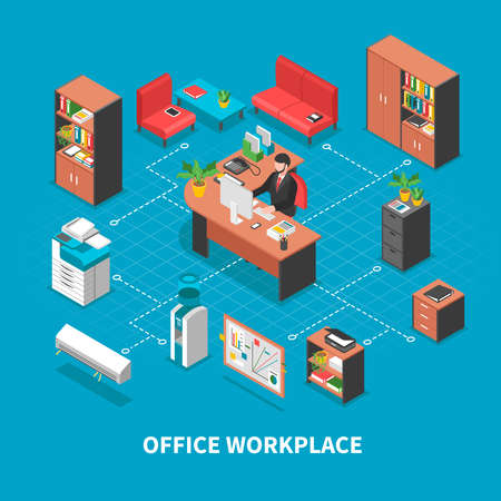 Office workplaces conceptual background with isometric furniture desktop accounting and business machinery connected with dashed lines vector illustration