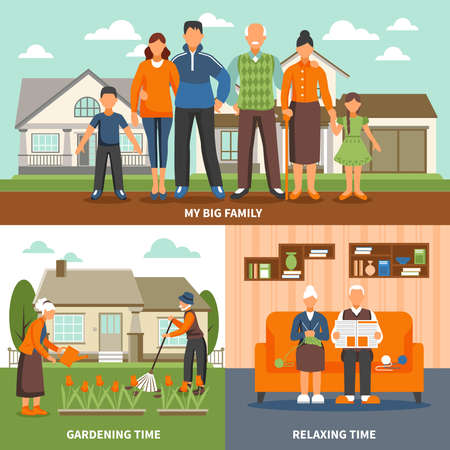 Old people design concept with family faceless characters compositions set indoor relaxing and outdoor gardening activities vector illustration