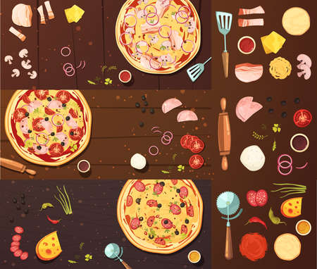 Set of banners with pizza cooking tools vegetables cheese and meat on wood background isolated vector illustration