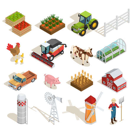 Farm isometric icons collection with agricultural machines animals vegetables fruits greenhouse mills farmer barn isolated vector illustration