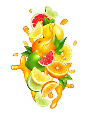 Fresh citrus fruits wedges slices and segment with orange juice splashes around colorful realistic composition vector illustration Vektorgrafik