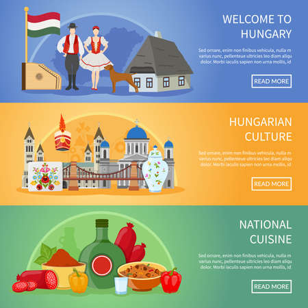 Set of three hungary banners with flat compositions of traditional architecture food costumes and national symbols vector illustration