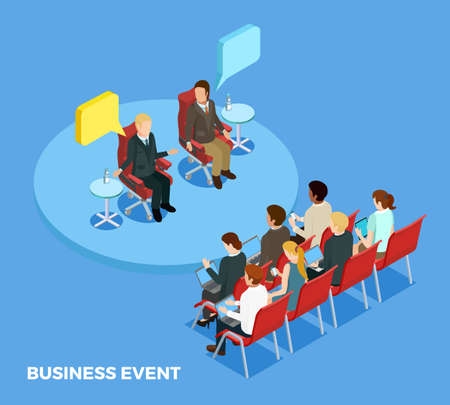 Business coaching isometric template with personnel and speakers on training meeting isolated vector illustration