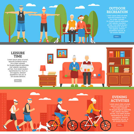 Three horizontal old people banners set with flat senior characters outdoor sport and indoor leisure activities vector illustration