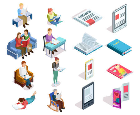 Isolated and colored isometirc reading icon set with people who read books magazines tablets in different places vector illustration