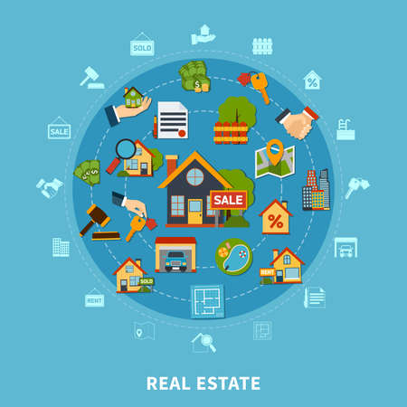 Real estate flat design concept with numerous colorful apartment search and rental icons on blue background vector illustration 向量圖像