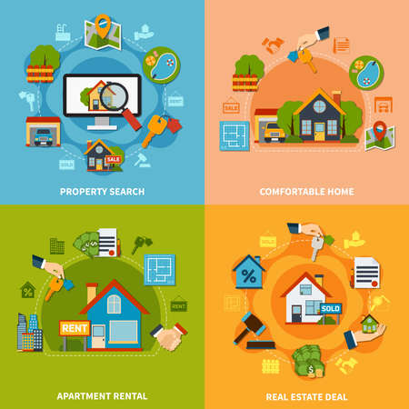 Real estate 2x2 design concept with property search and apartment rental icons on colorful backgrounds flat isolated vector illustration Vector Illustration