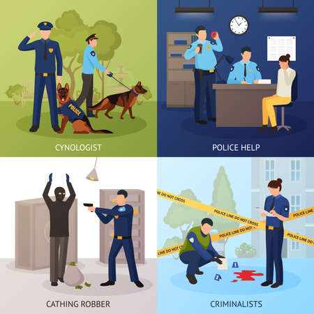 Police officers work 4 flat icons square with bank robber seizure and crime scene investigation isolated vector illustration