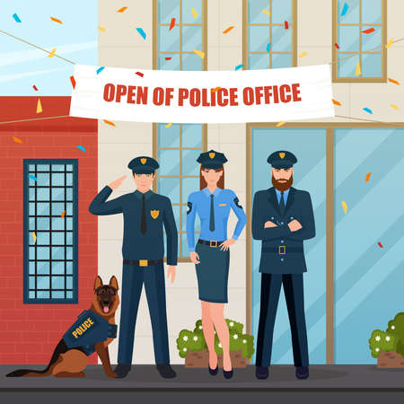 Flat characters of policemen with police dog in front of office with festive decorations and confetti vector illustration