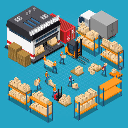 Warehouse isometric composition with employees and storage building shelves and boxes transportation on blue background vector illustration Vector Illustratie