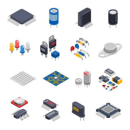 Isolated semiconductor electronic components isometric icons set with circuit board elements microprocessors electrolytic capacitors and microchips vector illustration Vektoros illusztráció