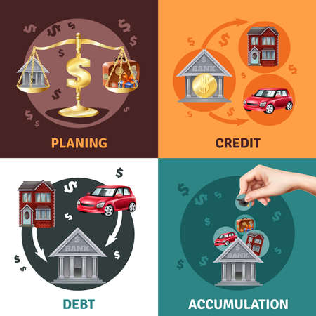 Debit credit balances bookkeeping budget planning concept 4 flat infographic elements icons square composition isolated vector illustration