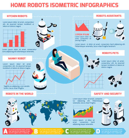Home robots infographics isometric layout with different models and modifications of machines with artificial intelligence vector Illustration Vektorové ilustrace