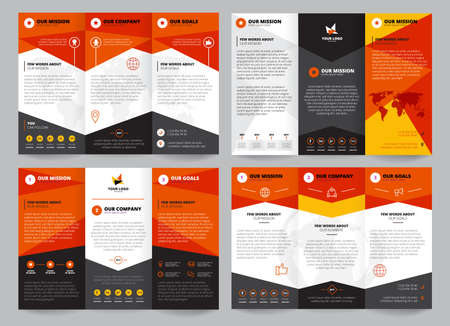 Brochure template set with place for logo corporate information and business icons world map isolated vector illustration