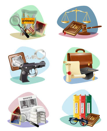 Civil law legal system symbols and criminal justice investigation attributes compositions 6 icons collection isolated vector illustration Ilustración de vector