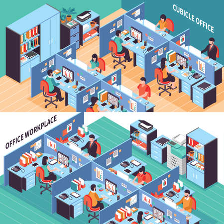 Two open space isometric horizontal banners with people working in office cubicles vector illustration Vetores