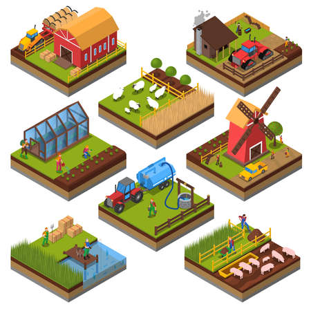 Agricultural compositions isometric set with farm buildings and vehicles livestock and fishing cultivated lands isolated vector illustration Ilustracje wektorowe